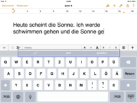 Screenshot: Wortvorhersage in Pages