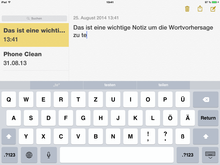 Screenshot: größere Schrift in den Notizen
