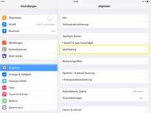 Screenshot: Multitasking-Einstellungen