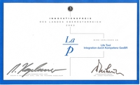 Photo: Award certificate Innovationprize 2003 for LifeTool
