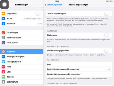 Screenshot: Touch-Anpassungen