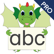 Icon: LIFEtool App Erfolgreich Lesen, little green dragon with an alphabet board