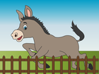 Screenshot: LIFEtool App Farm HokusPokus, a young donkey jumping over a fence