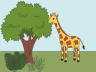 Screenshot: LIFEtool App Zoo HokusPokus, a giraffe that eats leaves