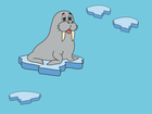 Screenshot: LIFEtool App Zoo HokusPokus, a sea lion on an ice floe