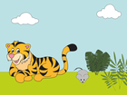 Screenshot: LIFEtool App Zoo HokusPokus, a tiger and a mouse sitting next to each other in the grass
