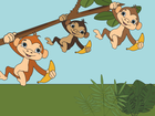 Screenshot: LIFEtool App Zoo HokusPokus, three monkeys with bananas doing gymnastics on a branch