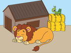 Screenshot: LIFEtool App Zoo HokusPokus, a sleeping lion in front of its hut