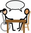 Symbol: Symbol for counseling; two people sitting together at a table