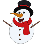 Screenshot: LIFEtool App Weihnachten HokusPokus, laughing snowman with red scarf and black hat