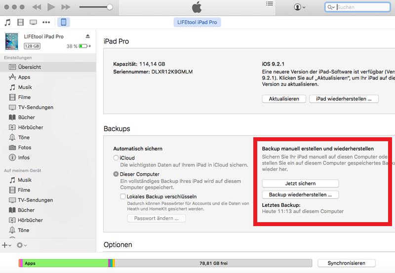 iPad wird nicht gesichert